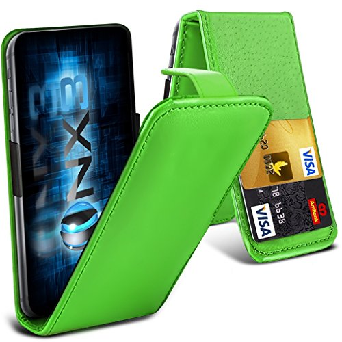 ONX3 (Green) Huawei Ascend P7 / Ascend P7 dual sim Universal Luxury Style Folding PU Leather Spring Clamp Holder Top Flip Case with 2 Cards slot, Slide Up and Down Camera