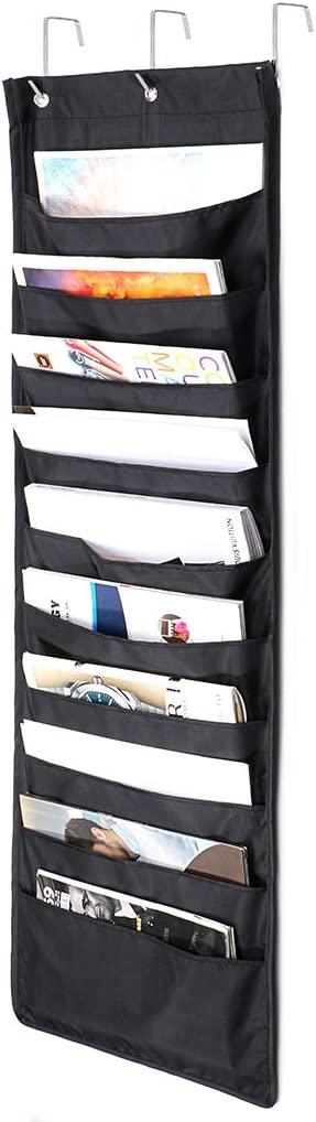 IGNPION 30 Pockets Hanging File Organizer Over Door Storage Pocket Chart Cascading Wall Organizer Hanging Literature Magazine Paper Holder wth 5 Hooks for Home Office School
