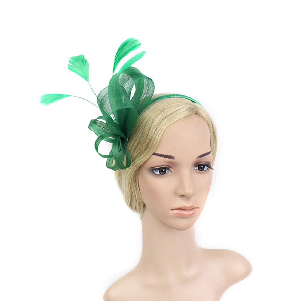 ACTLATI Fascinators for Women Feather Mesh Headband for Tea Party Wedding