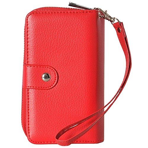 Phone Taschen & Schalen 2 in 1 separatem Zipper Geldbörse Ledertasche mit Lanyard für iPhone 6 Plus & 6S Plus ( Color : Red )
