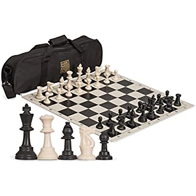 Staunton Tournament Chess Set with Weighted Chessmen, Bag, and Roll-Up Vinyl Board with Black & Natural Squares