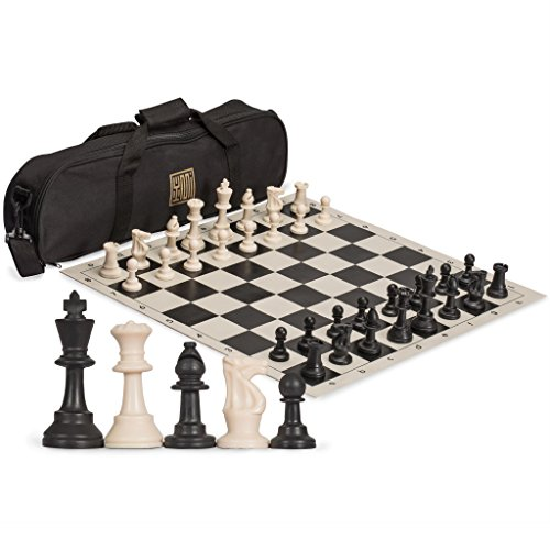 Yellow Mountain Imports Staunton Regulation Tournament Chess Set with 2 Extra Queens, Weighted Chessmen, Bag, and Roll-Up Vinyl Board with Black and Natural - Chess Set Bag
