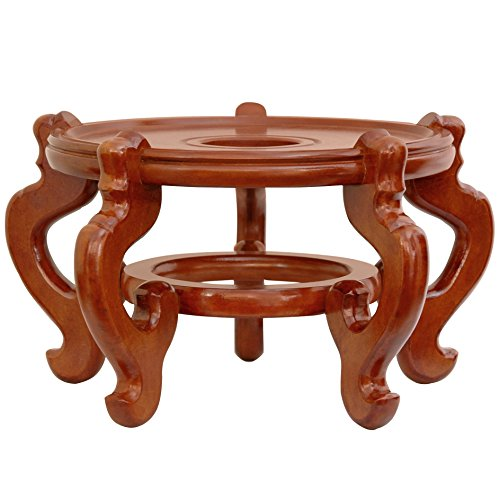 Oriental Furniture Rosewood Fishbowl Stand - Honey - Size 8.5 in. Base Diameter