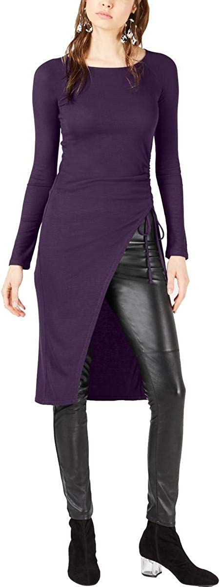 Small Purple Dynasty Bar III Womens Ruched Tunic Blouse
