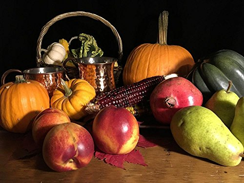LAMINATED 32x24 inches POSTER: Thanksgiving Seasonal Fall Autumn Harvest Pumpkin Squash Gourd Nectarine Pear Cups Copper Basket Gourds Orange Yellow Red Green Colourful Colorful Still Life Fruit