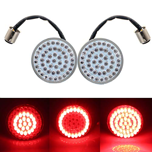 Motorcycle 2 inch Bullet Style 1157 RED LED Turn Signal Light Inserts Rear,48 LEDs LED Turn Signal Light For Harley Davidson Softail Dyna Sportster Tri Glide