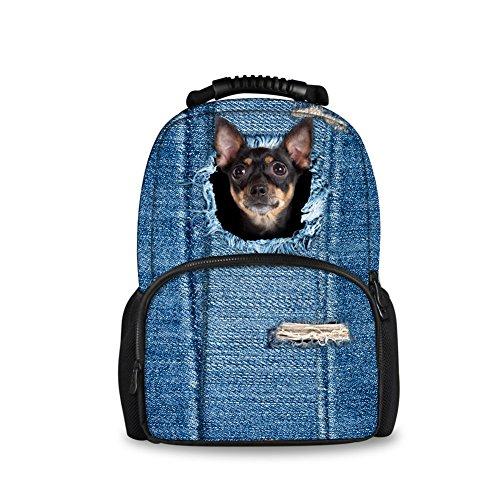 HUGS IDEA Kawaii Dog Chihuahua Pattern Backpack Outdoor Sport Travelling Laptop School Bag