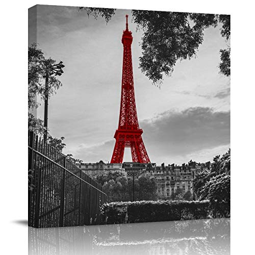 Miss Sweetheart Canvas Wall Art - Eiffel Tower in Paris France Canvas Artwork Prints Contemporary Wall Art Decor for Home Living Room Bedroom Decoration Office Wall Decor Framed Ready to Hang 20X20In