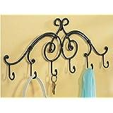 Wrought Iron Wall Keys Hanging Mount 6 Hook Rack Bathroom Shelf Towel Rack