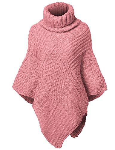 Warm Turtleneck Batwing Sleeve Poncho Sweaters,002-Dusty Pink,Free (S-L)
