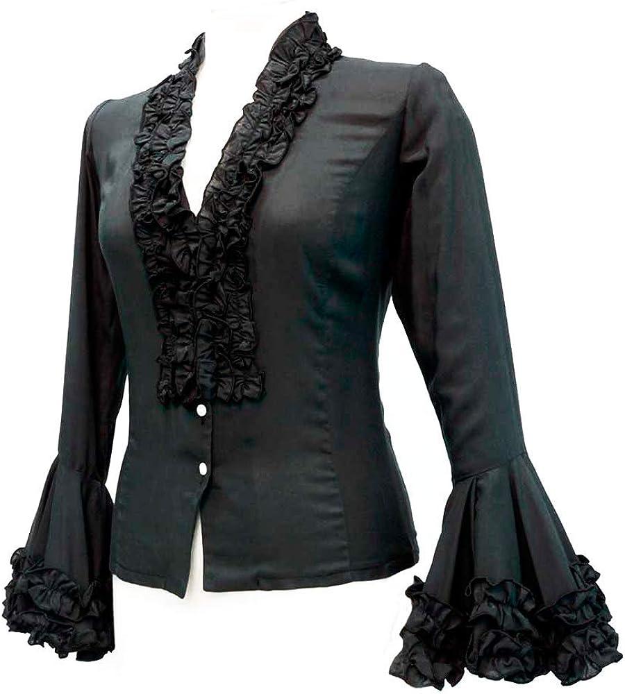 Doña Ana Camisa Flamenca Modelo Pepa Negra: Amazon.es: Ropa y ...