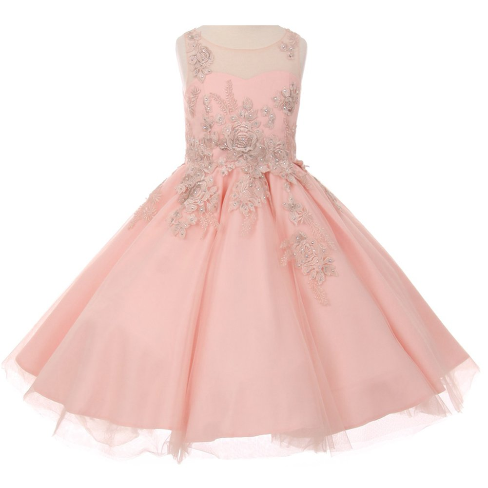 Little Girls Satin Soft Tulle Illusion Neck Sleeveless Flower Lurex Embroidery Girl Dress Blush - Size 6
