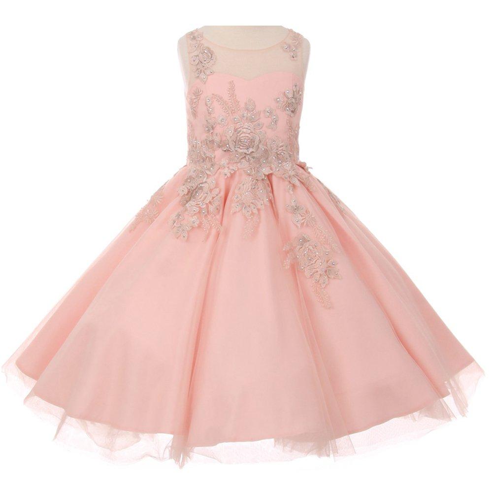 Little Girls Satin Soft Tulle Illusion Neck Sleeveless Flower Lurex Embroidery Girl Dress Blush - Size 4