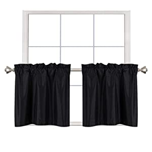 Home Queen Faux Silk Rod Pocket Tier Curtains for Small Window, Short Room Darkening Kitchen Curtains, Café Drapes, 2 Panels, 30 W X 24 L Inch Each, Solid Black