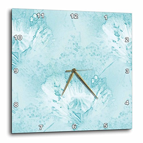 3dRose Aqua Poppy Floral Art – Wall Clock, 15 by 15-Inch (dpp_26150_3) For Sale