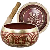 Colored Singing Bowl Medium Endless Knot Red (each)