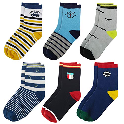 LAISOR Toddler Kids Boys Socks Colorful Novelty Fashion Cotton Crew Dress Socks 6/12 Pairs