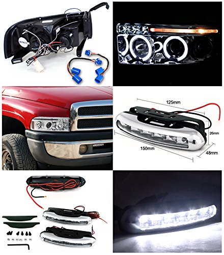 Dodge Ram Sport LED Strip Halo Projector Headlights Chrome+Driving Fog Lamps by Spec-D Tuning