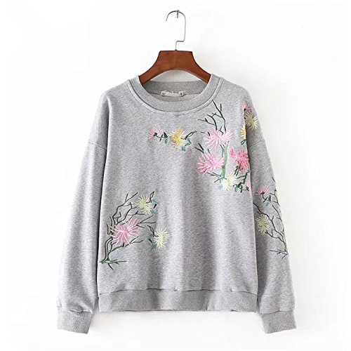 Dcfvygh Autumn Winter Women Hoodie Sweatshirt Casual Floral Embroidery Flower Embroidered Tops Grey Black Pullover Hoodies at Amazon Womens Clothing store: