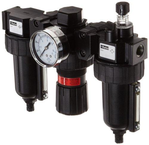Parker 06B28A18A4BC Three-Unit Combo Compressed Air Filter/Regulator/Lubricator, 3/8