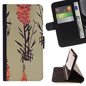 For Samsung Galaxy S5 Mini (Not S5), SM-G800 Case , Arte Naturaleza Planta Lago Naranja Beige- la tarjeta de Crédito Slots PU Funda de cuero Monedero caso cubierta de piel
