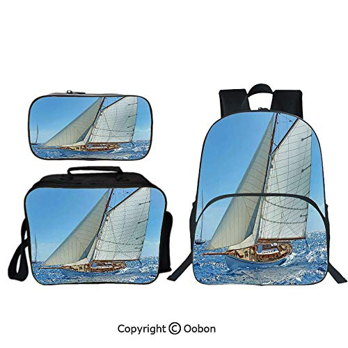"Oobon Kids Toddler School Waterproof 3D Cartoon 16"" Backpack, Sailboat on the Sea Regatta Race Yacht and Windy Weather Competition Theme, with Lunch bag Pencil bag Three-piece"