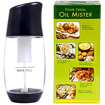 The Fine Life Ideal Olive Oil Mister Sprayer - Premium Air Pressure Only Clog-Free Cooking Oil Sprayer for Salads, Baking, Grilling, Air Fryers by Black