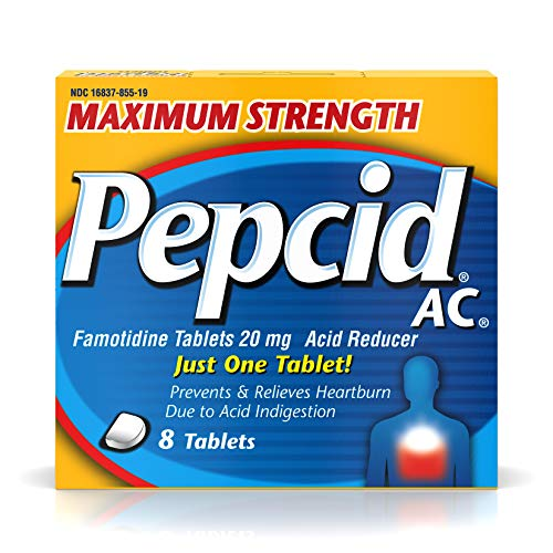 Pepcid AC Maximum Strength with 20 mg Famotidine for All-Day Heartburn Prevention & Relief, 8 ct.