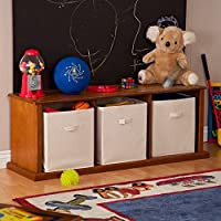 Top Seller Top Highest Rated Toddler Baby Kids Childrens Toy Chest Bin Organizer- Wood Frame Lid Pecan Finish- This Organizer Storage Bench Perfect For Kids Playroom Den Bedroom- 3 Bin Storage