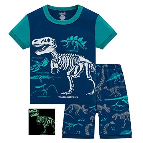 AmberEft Boys Pajamas 2T Kids Pyjamas Short Sleeve PJs Summer Dinosaur Clothes Toddler Sleepwear ()