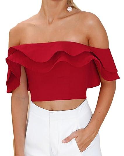 a4a17a31d4e X-Future Womens Summer Off Shoulder Ruffles Slim Fit Crop Tops T-Shirt  Blouse