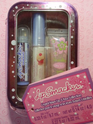 Bonne Bell Smackers Lip Sparkler (Bonne Bell Lip Smacker Crystal Kisses Collection, 3 Piece Shimmer Set Includes: Lip Smacker Shimmers in Vanilla Lights, Lip Sparkler Gloss in Vanilla Frosting & Glitz 'n Glo in Sparkling)