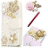 For Samsung Galaxy Grand Prime G530 Case,Vandot 3D Daimond Bling Crystal LOVE Heart Sparkle Glitter Rhinestone Diamond Flowers Wallet Magnetic Clasp Credit Card Holder Folio Cover Skin Shell