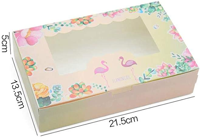 Caja de papel de regalo de flamencos, 50 unidades, para cumpleaños, bodas, fiestas de papel kraft con ventana para empacar pasteles y galletas L6.: Amazon.es: Hogar