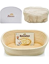 10 inch Oval Banneton Proofing Basket - Set for Professional & Home Bakers (Sourdough Recipe) w/Bowl Scraper & Brotform Cloth Liner