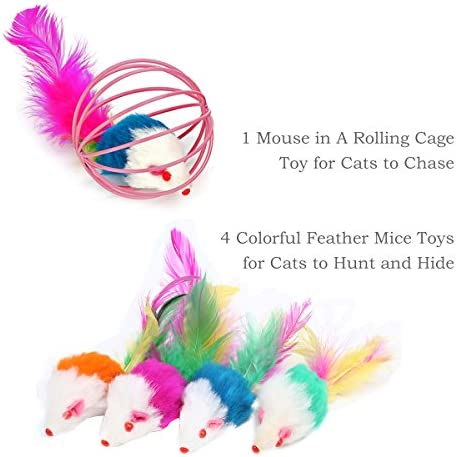 upsimples Cat Toys Including Cat Teaser Wand Interactive Feather Toy Fluffy Mouse Mylar Crinkle Balls Catnip Pillow for Kitten Kitty 9