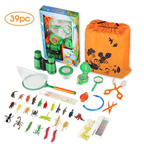 Outdoor Explorer Kit for Kids-39PCS Include Children's Toy Binoculars Compass Whistle Magnifying Glass Bug Catch Backpack Stickers And Pen. Kids Adventure Pack Camping, Hiking For Kids Adventure