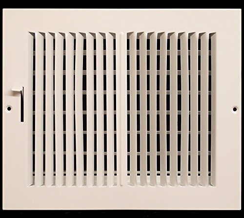 14'w X 6'h 2-Way-Horizontal FIXED CURVED BLADE AIR SUPPLY DIFFUSER - VENT COVER - Grille Register - Sidewall or Cieling - High Airflow - White [Outer Dimensions: 15.75'w X 7.75'h]