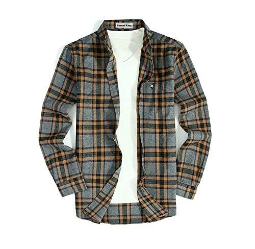 Mens Button Down Long-Sleeve Regular-Fit Plaid Flannel Casual Shirts(Medium,Gray/Brown)