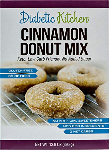 Diabetic Kitchen Cinnamon Donut Mix Is Keto-Friendly, Sugar-Free, Low-Carb, Gluten-Free, 8g Fiber, Non-GMO, No Artificial Sweeteners, No Sugar Alcohols (Box) 13.9 ()