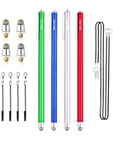"""Dimples Excel New Generation 4 x Extra Long XXL 7.5"""" Ultra Slim 3mm Micro-Knit Hybrid Fiber Tip Stylus Pens + 4 Replacement Tips(4pcs - Dark Blue/Green/Silver/Red)"""