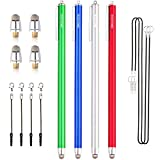 Dimples Excel New Generation 4 x Extra Long XXL 7.5' Ultra Slim 6mm Micro-Knit Hybrid Fiber Tip Stylus Pens + 4 Replacement Tips(4pcs - Dark Blue/Green/Silver/Red)