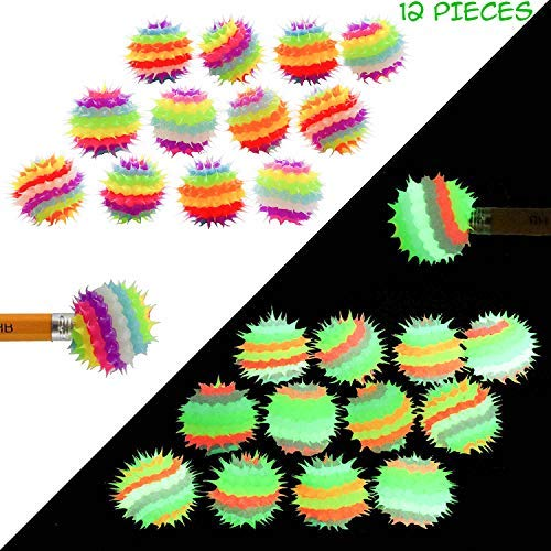 Glow in The Dark Pencil Toppers for Kids Girls Boys Students 12 PCs - Spiky Silicone Fidget Pencil and Pen Tops - Fun Back to School Supplies - Party Favors, Teacher Rewards, Classroom Prizes