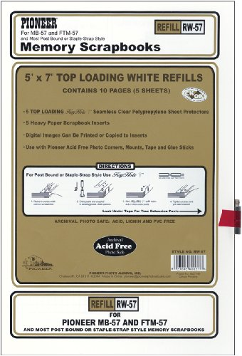 Pioneer Postbound 5 Inch by 7 Inch White Top Loading Refill (Pioneer Ez Load Memory)