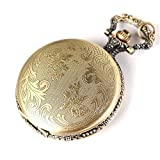 Antique Vintage Steampunk Bronze Retro Quartz Pendant Pocket Watch With Chain Necklace Rib B