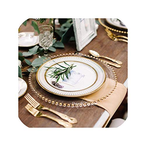 European glass pearl gold inlay dishes steak plate salad dishes party event decoration tableware 1pc/lot,Golden ()
