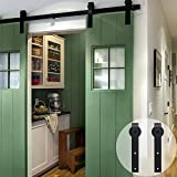 CCJH Flat Style 9FT Country Steel Sliding Barn Interior Door Hardware - Black for Double Door