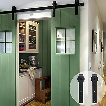 CCJH Flat Style 9FT Country Steel Sliding Barn Interior Door Hardware    Black For Double Door