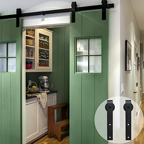 CCJH Flat Style 9FT Country Steel Sliding Barn Interior Door Hardware - Black for Double Door by CCJH
