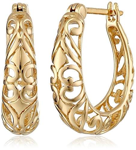Gold Womens Earring (18k Yellow Gold Plated Sterling Silver Filigree Hoop Earrings)